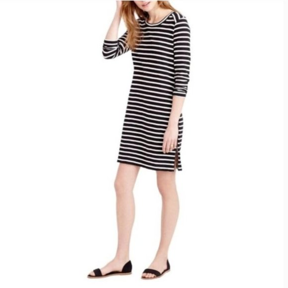J.Crew Striped Oversized Zipper T-Shirt Dress